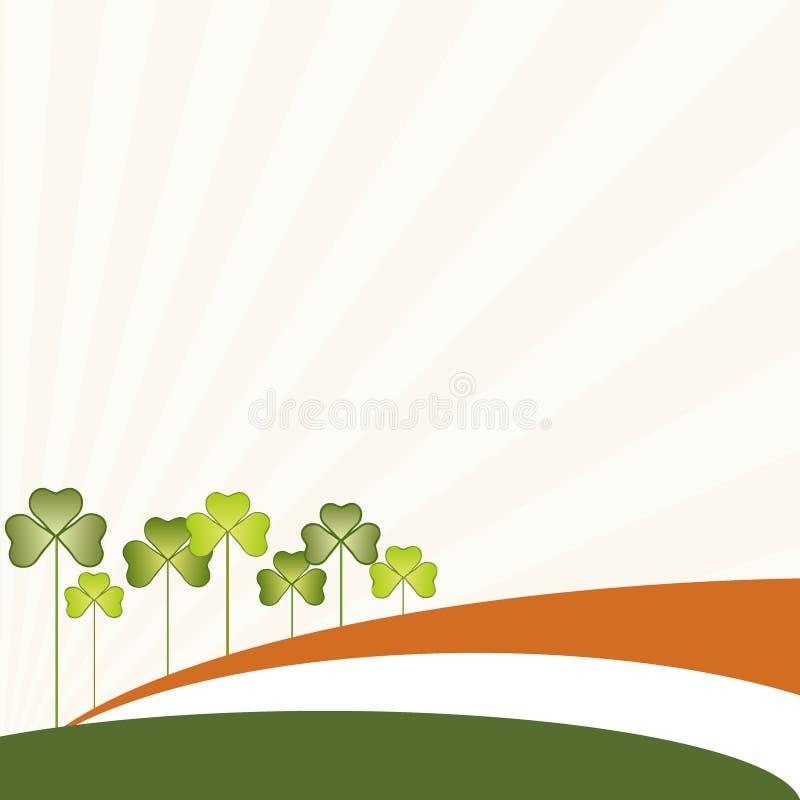 Fond abstrait de jour du ` s de St Patrick, drapeau irlandais et oxalide petite oseille Trois-Leaved illustration stock