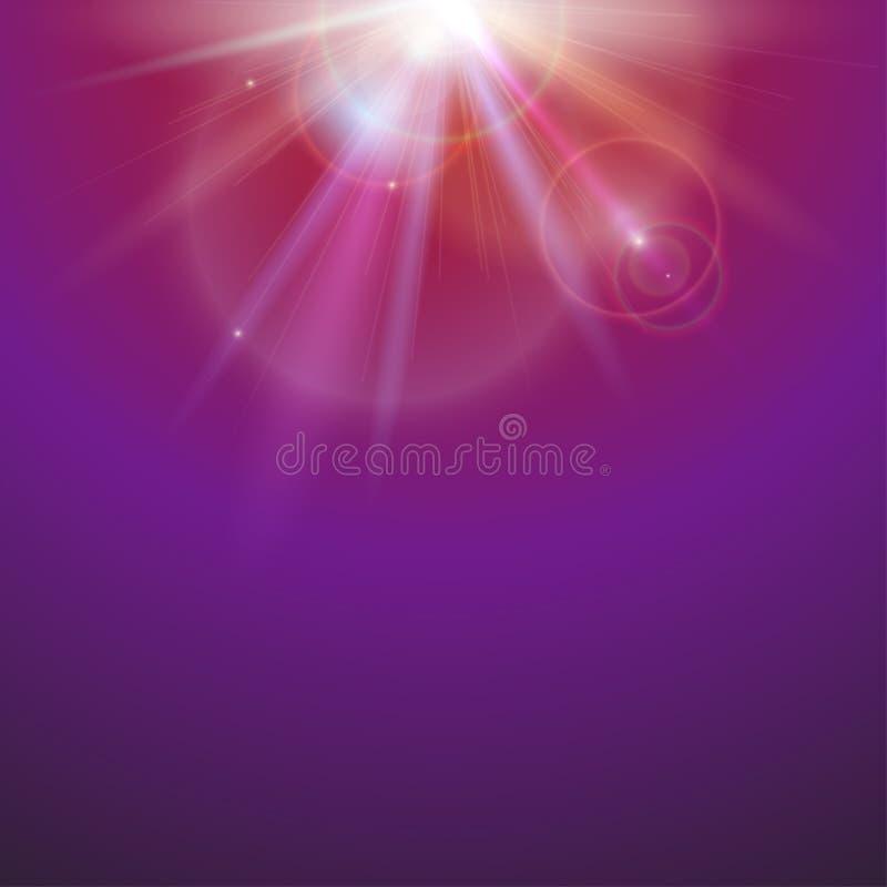 Fond abstrait de l'espace avec des faisceaux sur le fond coloré Effet de la lumière, rayons du soleil et contexte lumineux de fus illustration de vecteur