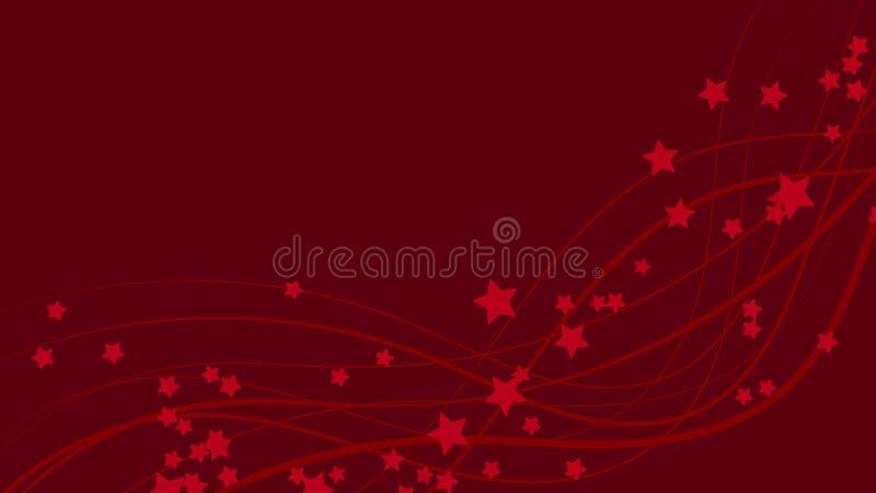 Fond abstrait de l'espace avec les lignes onduleuses rouges et les astérisques rouges Le rouge se tient le premier rôle sur un fo illustration stock