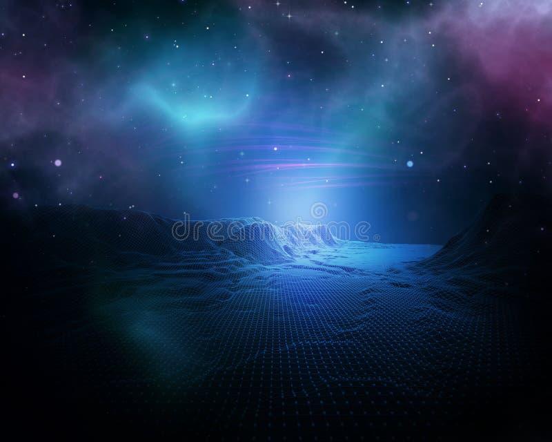fond abstrait de l'espace 3D avec le paysage de wireframe illustration de vecteur