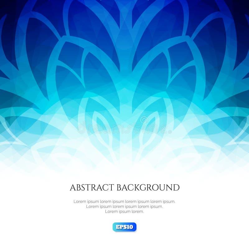 Fond abstrait de l'hiver Nuances fraîches de couleurs Fleur de glace sur un fond bleu illustration de vecteur