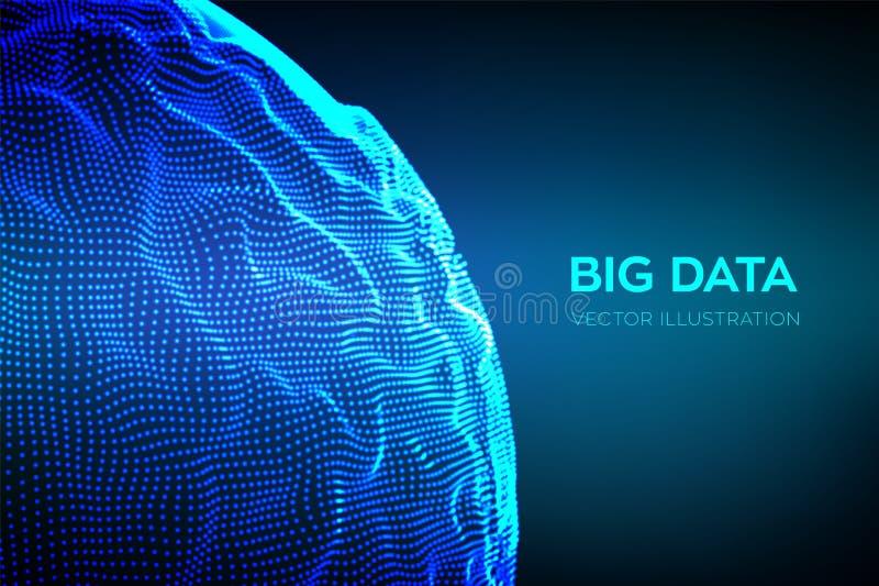 Fond abstrait de la science de bigdata Vague de grille de sphère Grande technologie d'innovation de données Analyse réseau de Blo illustration stock