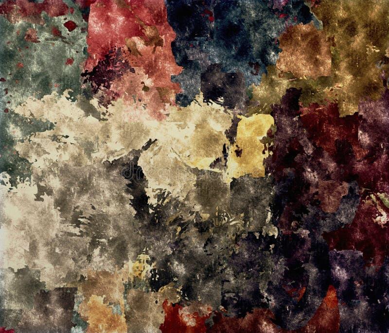 Fond abstrait de la texture grunge colorée des calomnies et des taches brouillées de peinture sur la toile texturisée illustration de vecteur