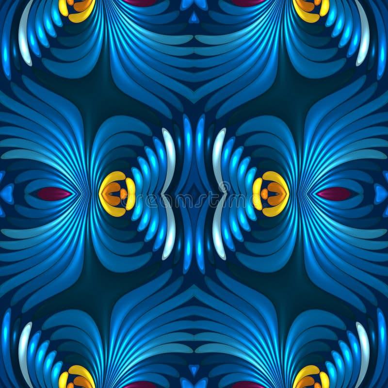 Fond abstrait de luxe floral sans couture du bleu 3d illustration libre de droits