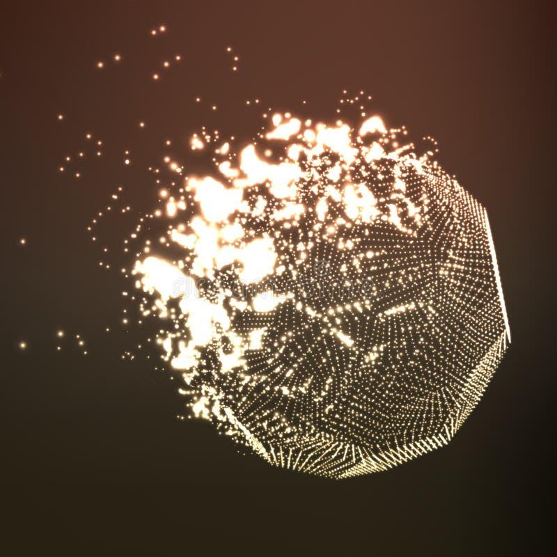 Fond abstrait de maille de brun de vecteur Destruction de la comète abstraite Style futuriste de technologie illustration de vecteur