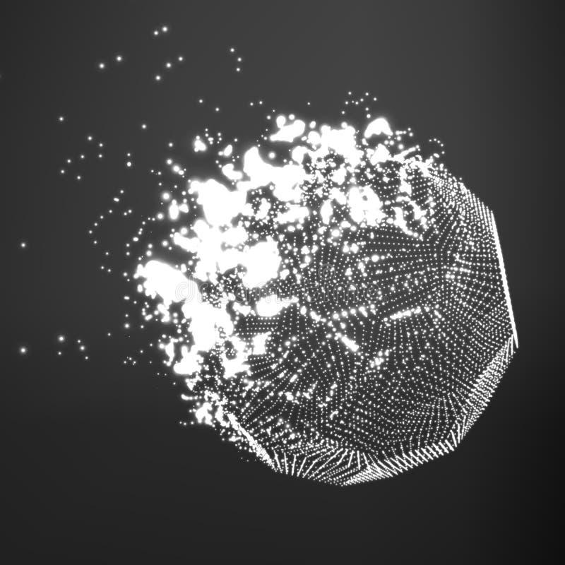 Fond abstrait de maille de gamme de gris de vecteur Destruction de la comète abstraite Style futuriste de technologie illustration stock