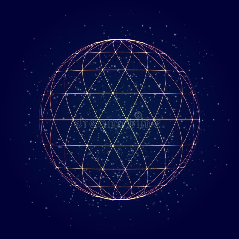 Fond abstrait de maille de triangle de sphère Illustration de vecteur illustration stock