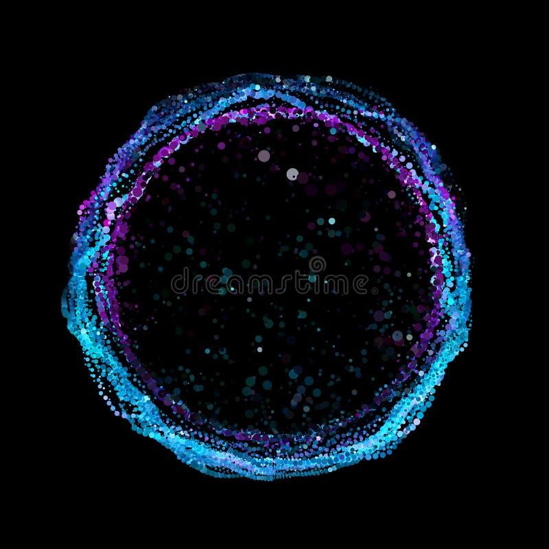 Fond abstrait de maille de vecteur Rangée colorée de point Anneau des points rougeoyants Style futuriste de technologie illustration libre de droits
