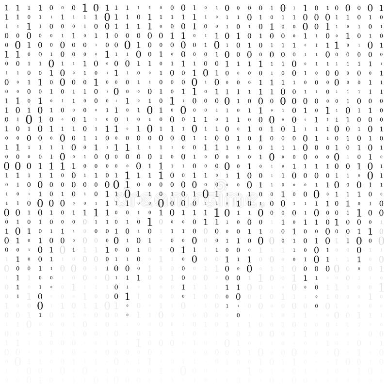 Fond abstrait de matrice Code machine binaire codage Concept de pirate informatique Illustration de fond de vecteur illustration libre de droits