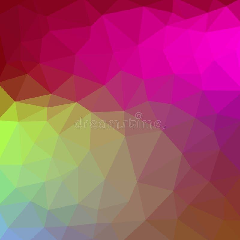 Fond abstrait de mosaïque bas poly graphique triangulaire fripé géométrique vert et pourpre bleu multicolore d'illustration de st illustration libre de droits