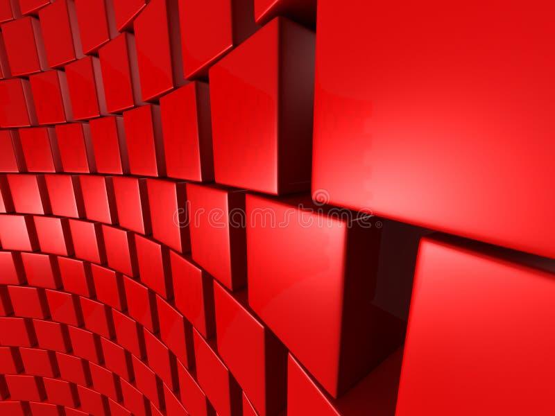 Fond abstrait de mur de blocs rouges de cubes illustration libre de droits