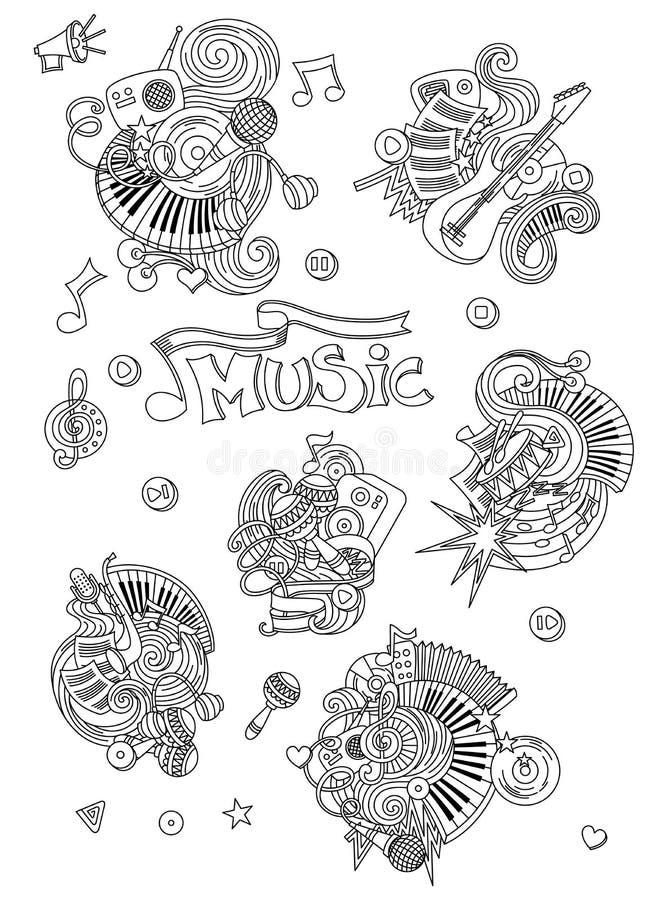 Fond abstrait de musique, collage avec des instruments de musique Griffonnage de dessin de main, illustration de vecteur illustration stock