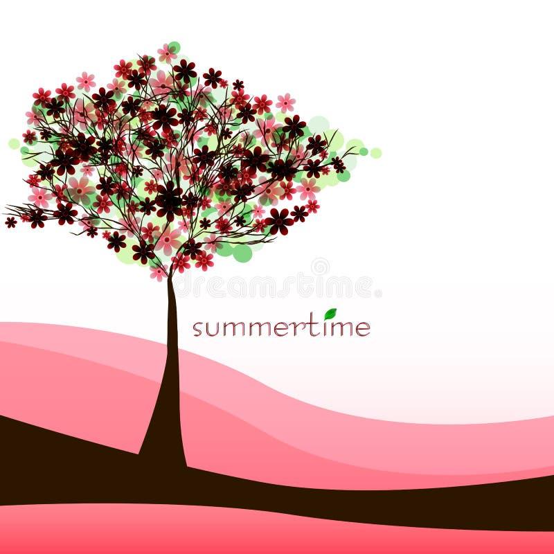 Fond abstrait de nature avec l'arbre Été rouge illustration libre de droits