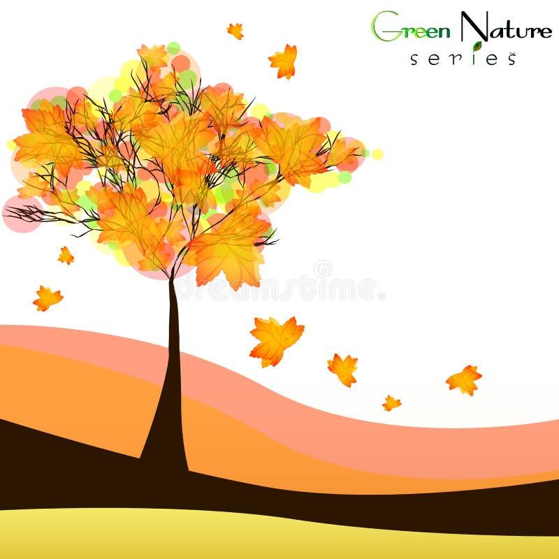 Fond abstrait de nature avec l'arbre d'érable Automne d'or illustration stock