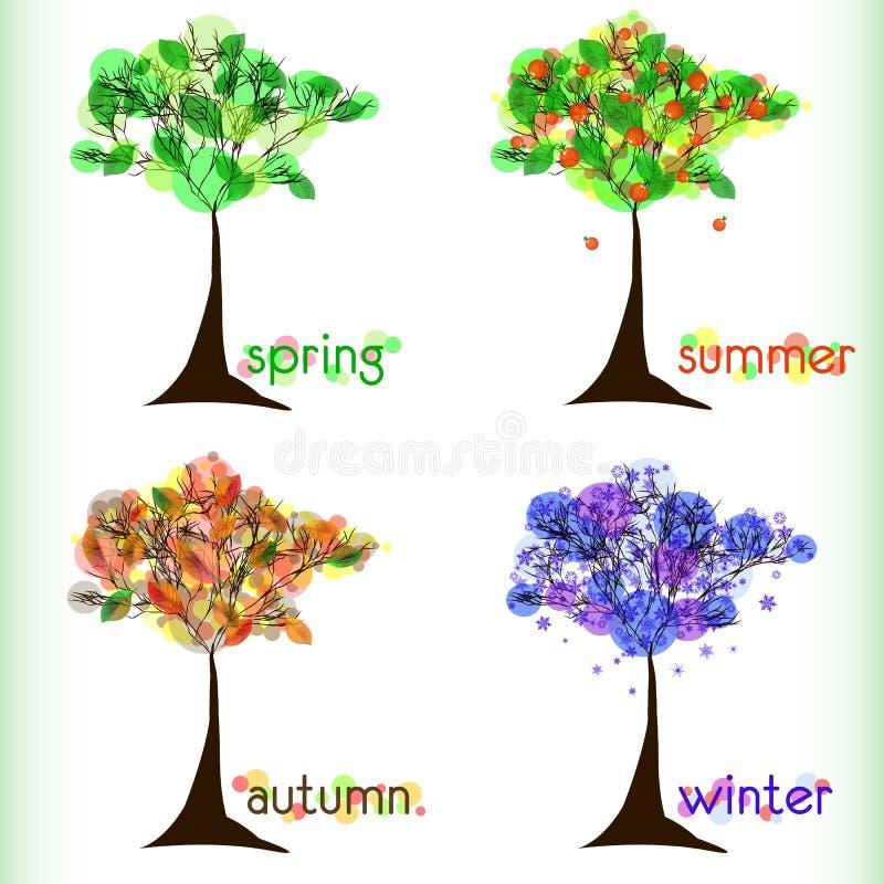 Fond abstrait de nature avec l'arbre dans quatre-saisons illustration de vecteur