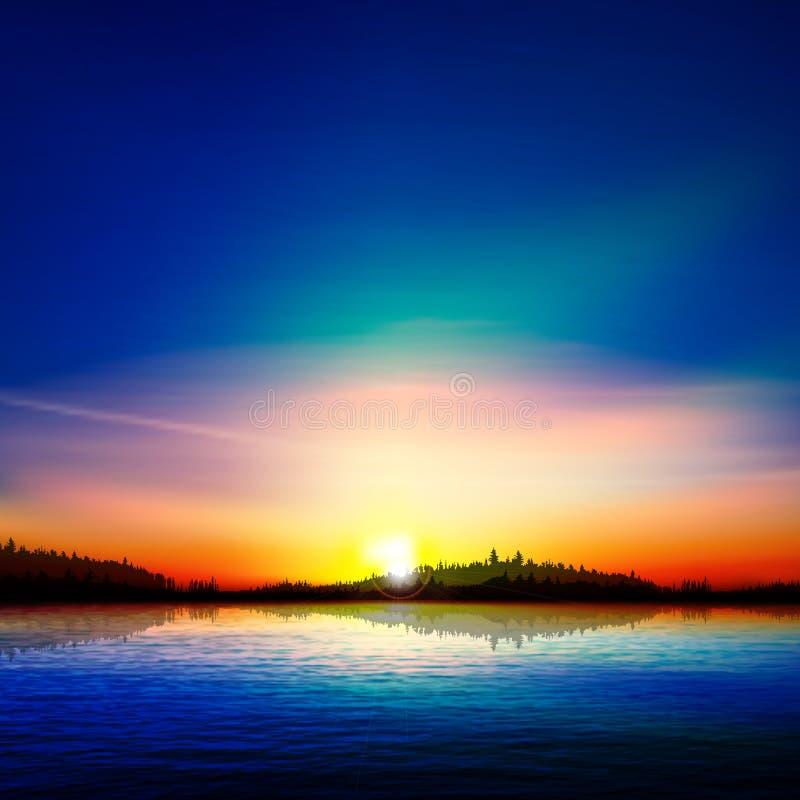 Fond abstrait de nature avec le lac et le lever de soleil de forêt illustration de vecteur