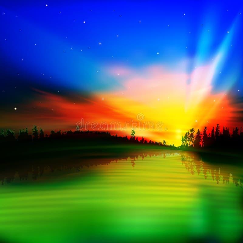 Fond abstrait de nature avec le lever de soleil illustration de vecteur