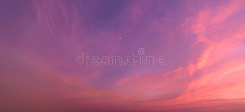Fond abstrait de nature Ciel réglé déprimé du soleil rose et pourpre de nuages photographie stock