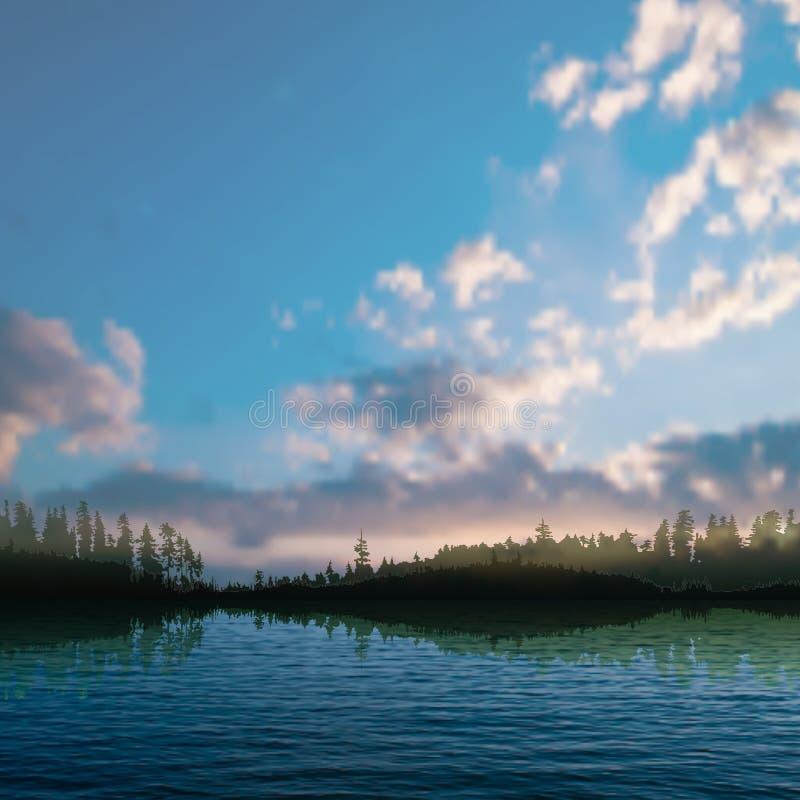 Fond abstrait de nature de nuit avec le lac de forêt illustration de vecteur