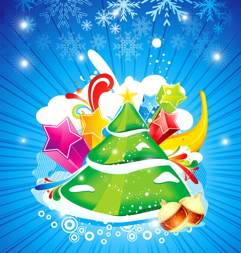 Fond abstrait de Noël avec l'arbre et l'étoile illustration de vecteur
