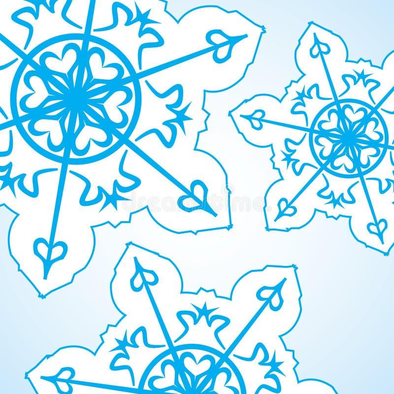 Fond abstrait de Noël Flocon de neige bleu sur le blanc illustration stock