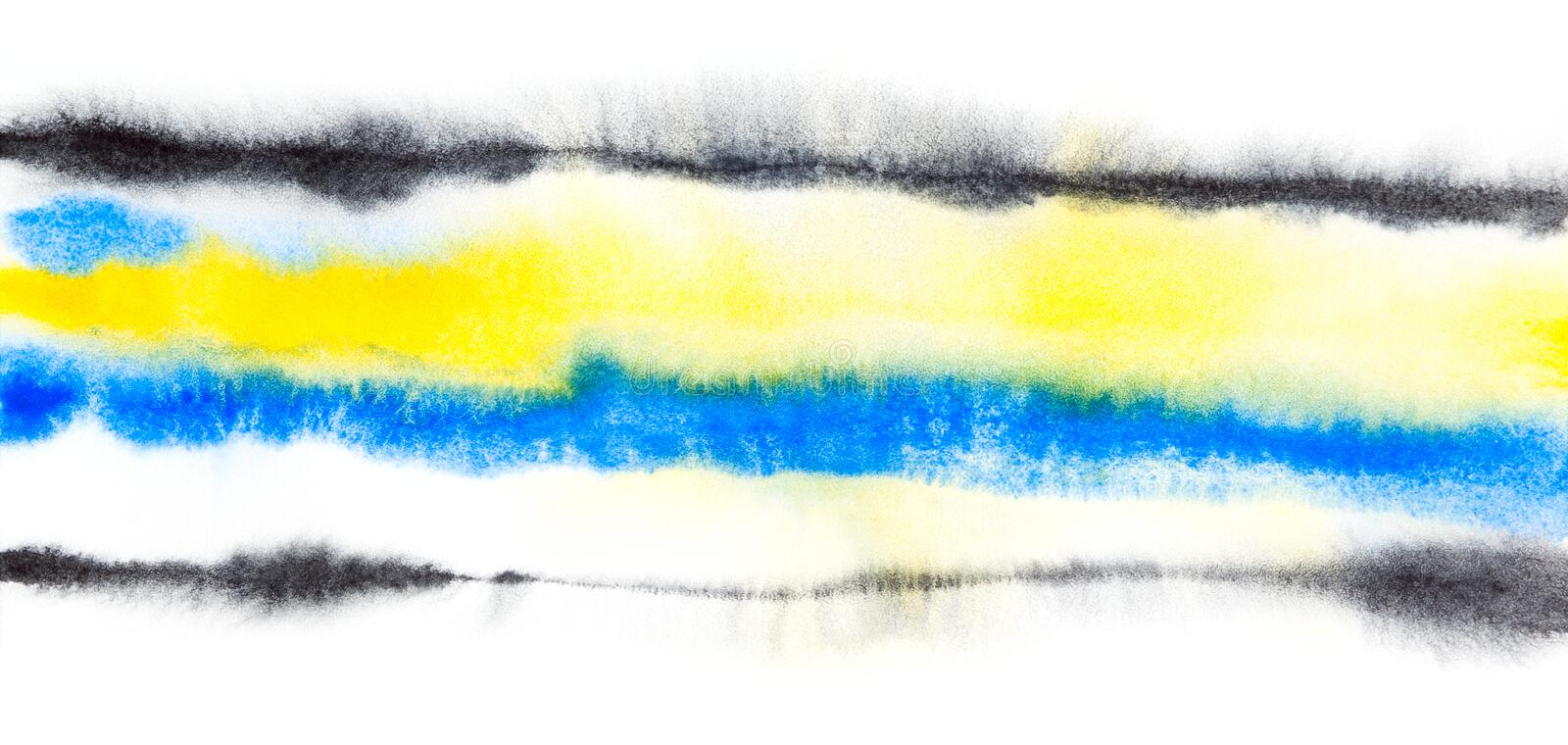 Fond abstrait de noir bleu de jaune d'aquarelle illustration stock