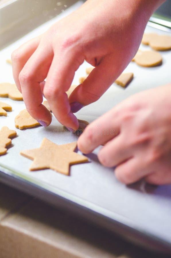 Fond abstrait de nourriture de Noël avec les moules et la farine de biscuits Biscuits de Noël de cuisson - table, coupeurs de bis photographie stock