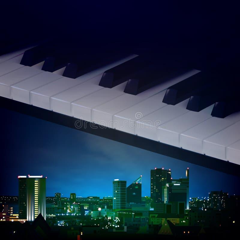 Fond abstrait de nuit avec des clés de ville et de piano illustration libre de droits