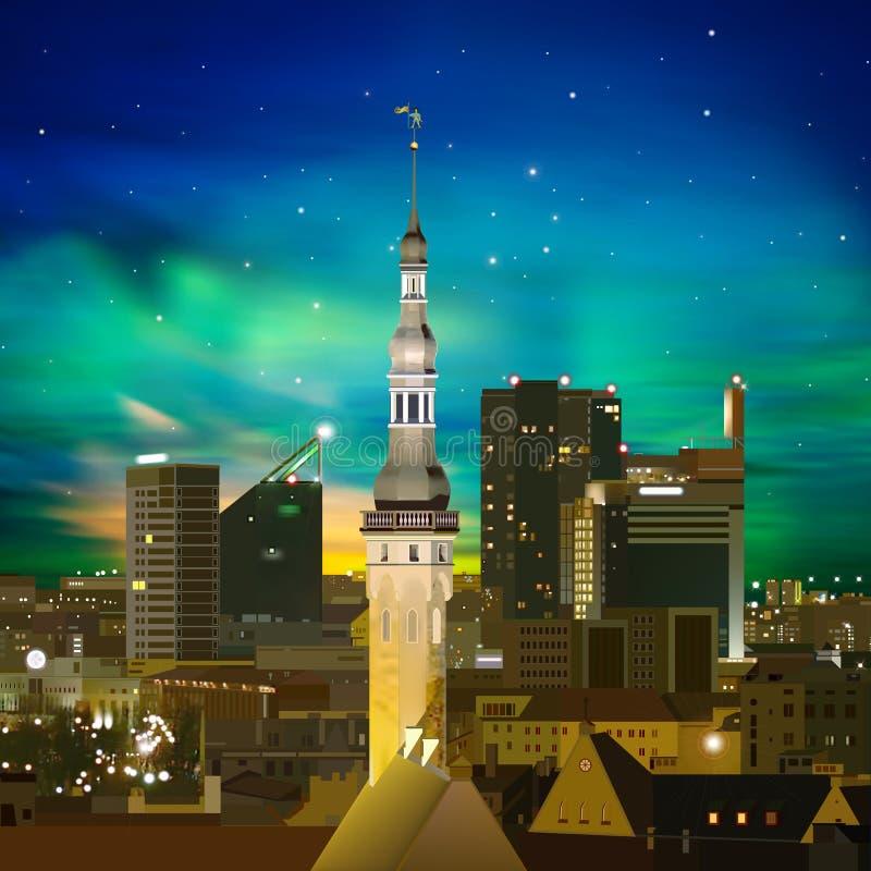 Fond abstrait de nuit avec Tallinn et coucher du soleil illustration libre de droits
