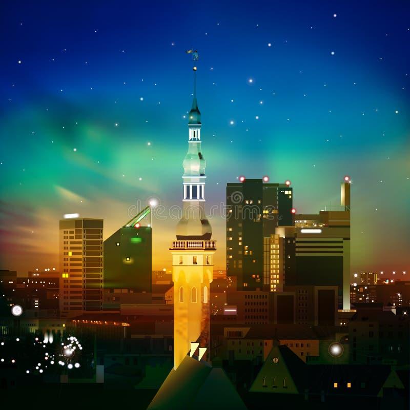 Fond abstrait de nuit avec Tallinn et coucher du soleil illustration stock