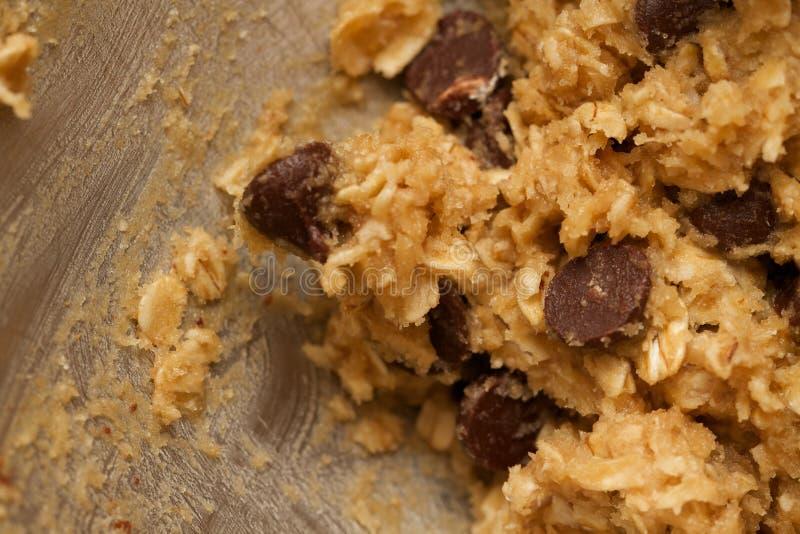 Fond abstrait de pâte de pâte lisse de chocolat Chip Cookie de farine d'avoine photographie stock