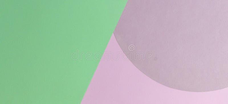 Fond abstrait de papier de couleur Couleur rose et vert clair en pastel autour de la composition en g?om?trie de forme de cercle  image libre de droits