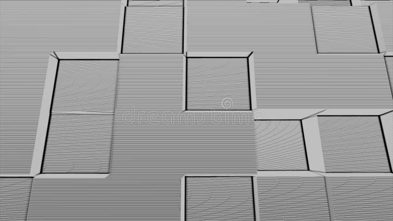 Fond abstrait de particules de bruit de boîte carrée, explosion géométrique de fumée de mosaïque de bande dessinée, modèle d'art  illustration stock