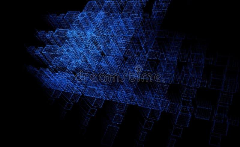 Fond abstrait de particules, ville du ciel fi, 3D rendu, bleu de fond de technologie illustration stock