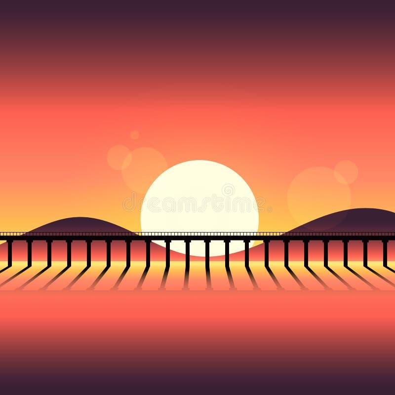 Fond abstrait de paysage de montagne de silhouette de coucher du soleil illustration stock