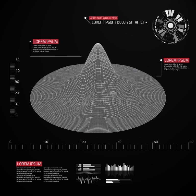 Fond abstrait de paysage de vecteur Grille de cyberespace Fond géométrique avec l'interface utilisateurs futuriste du sci fi illustration stock