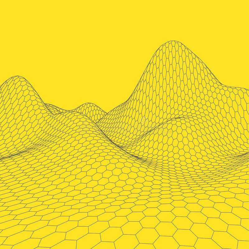 Download Fond Abstrait De Paysage De Vecteur Grille De Cyberespace Illustration De La Technologie 3d Illustration de Vecteur - Illustration du grille, géométrique: 77152190