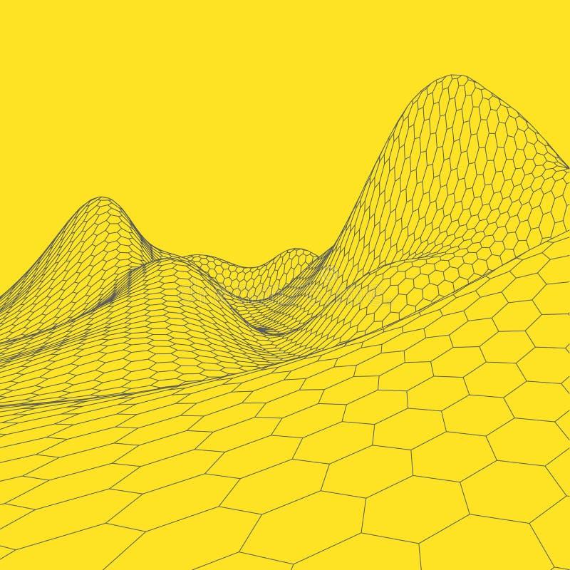 Download Fond Abstrait De Paysage De Vecteur Grille De Cyberespace Illustration De La Technologie 3d Illustration de Vecteur - Illustration du forme, trellis: 77152215