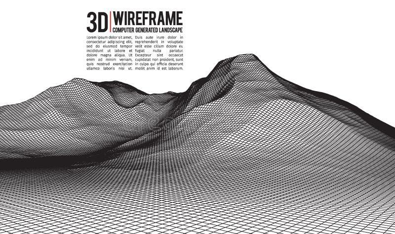 Fond abstrait de paysage de wireframe de vecteur Grille de cyberespace illustration de vecteur de wireframe de la technologie 3d  illustration libre de droits