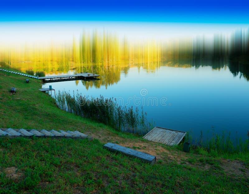 Fond abstrait de paysage de rivière illustration de vecteur