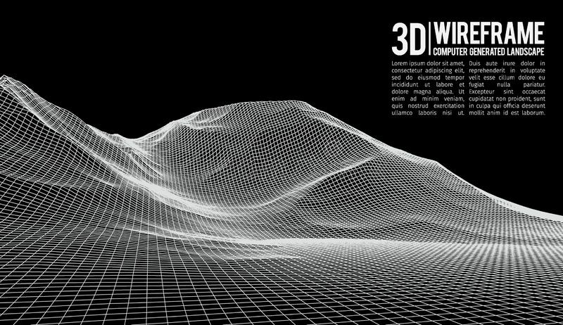Fond abstrait de paysage de vecteur Grille de paysage de cyberespace illustration de vecteur de la technologie 3d illustration libre de droits