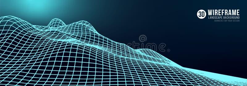Fond abstrait de paysage de wireframe illustration libre de droits