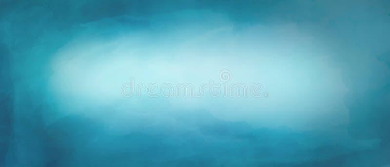 Fond abstrait de peinture d'aquarelle par le bleu de couleur de sarcelle d'hiver image stock