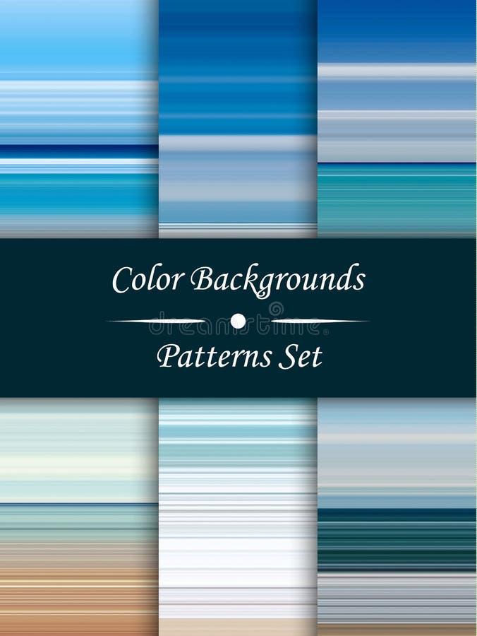 Fond abstrait de rayures colorées horizontales, effet étiré de pixels, modèles sans couture, ensemble illustration stock