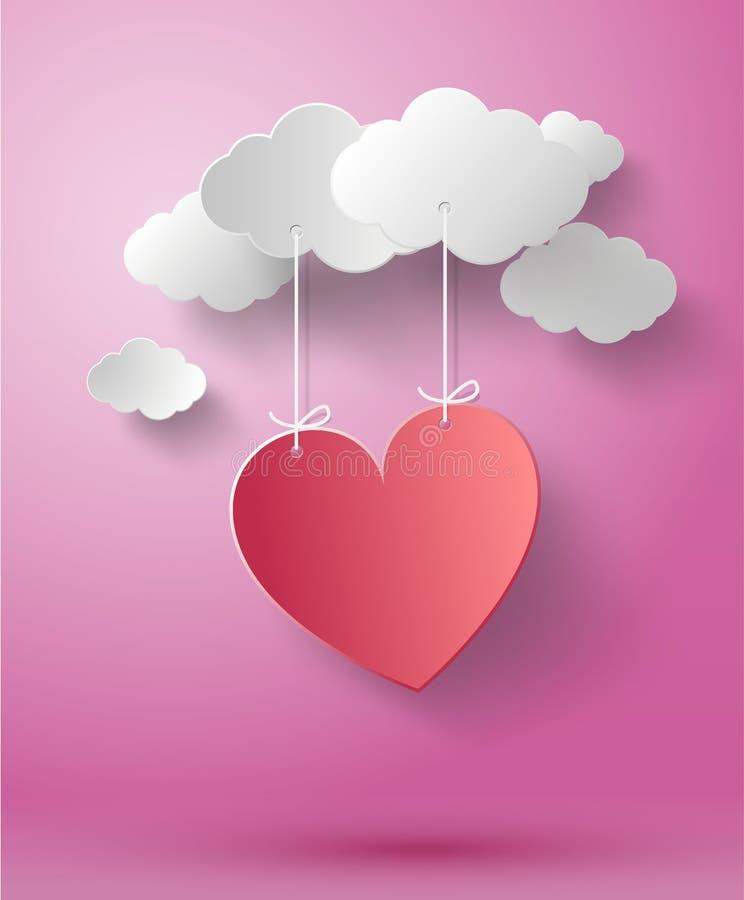 Fond abstrait de Saint-Valentin avec le coeur de papier coupé illustration stock