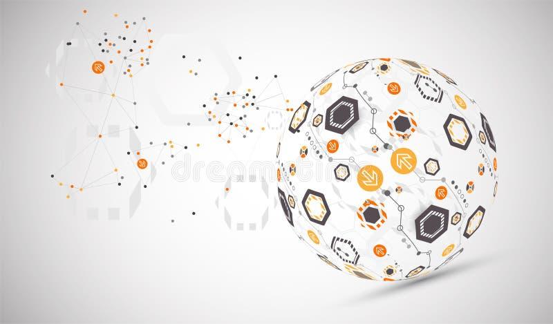 Fond abstrait de sphère de technologie Concept de réseau global illustration stock