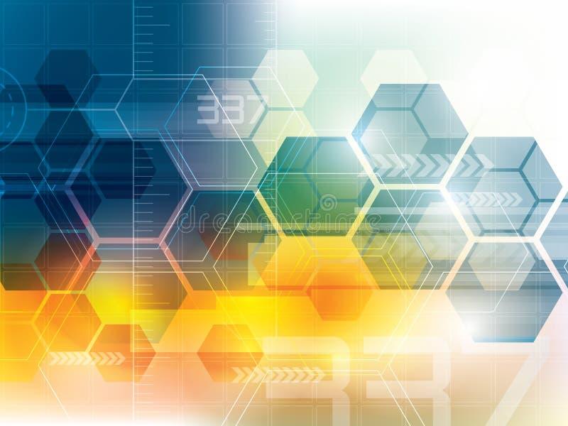 Fond abstrait de technologie avec des hexagones illustration libre de droits