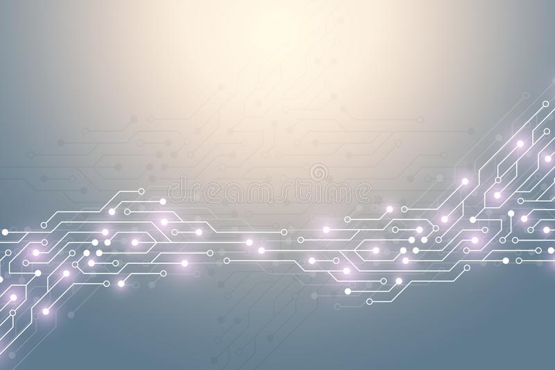 Fond abstrait de technologie avec la texture de carte Carte mère électronique de conception graphique Communication et illustration stock