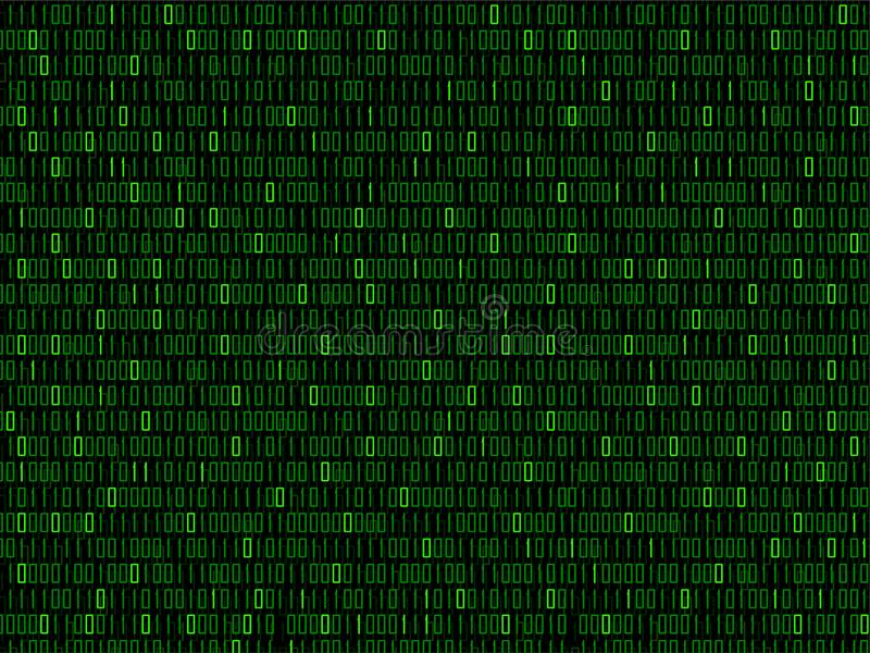 Fond abstrait de technologie avec le code binaire, contexte de matrice illustration stock