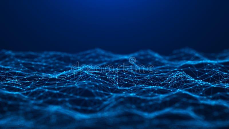 Fond abstrait de technologie Connexion r?seau Grande visualisation de donn?es rendu 4k illustration libre de droits
